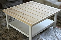 Ikea Hack hemnes coffee table with pine tongue and groove plank top - www.goldenboysandme.com Love this.