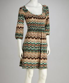 Take a look at this Green & Brown Zigzag Dress by Reborn Collection on #zulily today!