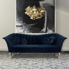 Gebogenes Sofa, Upholstered Sofa, Sofa Furniture, Luxury Furniture, Blue Tufted Sofa, Sofa Design, Canapé Design, Interior Design, Luxury Sofa