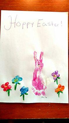 """Hoppy Easter"" footprint craft with fingerprint flowers"