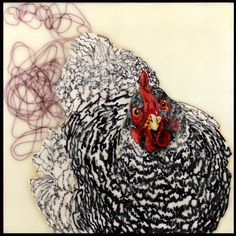 Pebbles - Encaustic Painting 2009 - Chicken series
