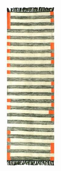 I like that this runner rug looks like it was drawn by a crayon. The orange accent is perfect.