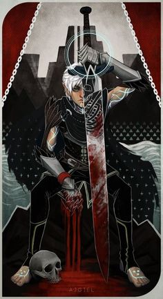 ajgiel:  Fenris tarot card because why not. Inspired by death tarot card and inquisition tarot cards.: