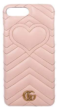 bd0adf6e83b Gucci Leather GG iPhone 8 Plus Case Pink Leather