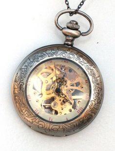 Groomsman Gift Pocket Watch Steampunk - SHERLOCK HOLMES - Mechanical - Skeleton Style - Necklace - Gray Silver - GlazedBlackCherry