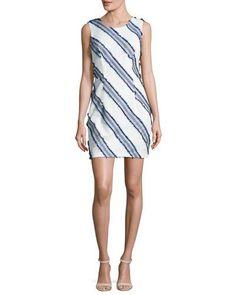 Shop Kendra Diagonal-Striped Mini Sheath Dress 52551e0ec0b17