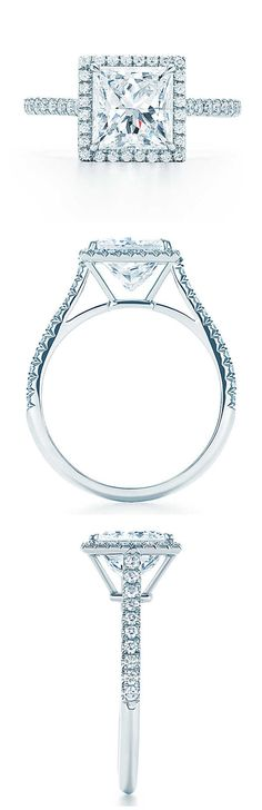 Absolutely love how square this is! So beautiful! - Tiffany princess cut halo wedding engagement rings