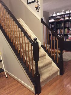 Home Remodeling Stairs Timeless and Treasured - My Three Girls: DIY - How To Stain and Paint Oak Stair Banisters Oak Handrail, Stair Banister, Stair Walls, Banisters, Banister Ideas, Staircase Ideas, Staircase Bookshelf, Staircase Design, Home Renovation