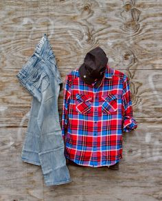 Red and blue fox plaid flannel shirt