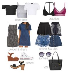 """""""jade insp packing list - 1 week/warm weather"""" by littlemixmakeup ❤ liked on Polyvore featuring Glamorous, Topshop, H&M, Forever 21, River Island, Love 21, Converse and Michael Kors"""