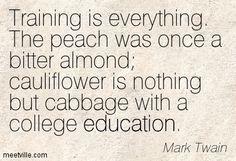 Training is everything... Mark Twain