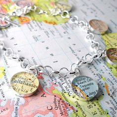 Charming Vintage Map Toggle Sterling Silver Charm Bracelet.  You Select the Journey. by dlkdesigns on Etsy https://www.etsy.com/listing/86483315/charming-vintage-map-toggle-sterling