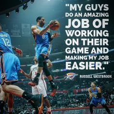 Triple-doubles are team accomplishments. Oklahoma City Thunder Basketball, Basketball Teams, Nba Quotes, Russell Westbrook, Double Take, Pretty People, Champion, Teamwork, Baseball Cards