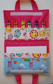 diy art folio--great beginning sewing project I'm going to make this but instea. diy art folio--great beginning sewing project I'm going to make this but instead of crayons, use it for cars Sewing Hacks, Sewing Tutorials, Sewing Patterns, Beginner Sewing Projects, Sewing Ideas, Sewing Projects For Kids, Fabric Crafts, Sewing Crafts, Sewing Art