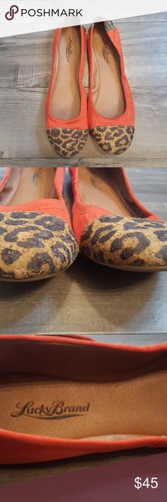 Lucky Brand ballet flats size 8 Lucky Brand ballet flats with leopard print cork toes and heels. GUC. Women's size 8. Small stain on fabric as shown on pic. Color is a red/ coral. Lucky Brand Shoes Flats & Loafers