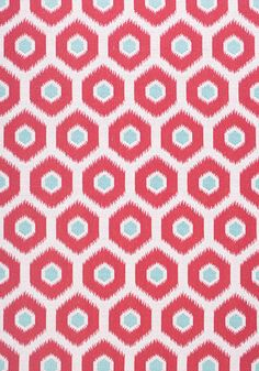 GEODE IKAT, Watermelon and Aqua, W80376, Collection Calypso from Thibaut