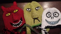 lock+the+nightmare+before+christmas+hat   Nightmare Before Christmas Inspired Knitted Hats Lock, Shock, and Barrel.  Inspiration only; link just goes to pinterest.