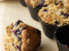Blueberry Muffins with Crumb Topping | F&W's blueberry muffins balance a moist, fluffy base with a buttery crumb topping and are equally delicious with blueberries in season or frozen fruit.