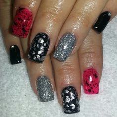 Instagram: @boop711 Acrylic nails with black and hot pink shellac.  Splatter, silver foil, glitter and rhinestones.