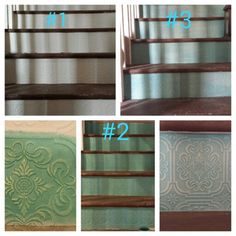 """Textured wallpaper on toe kicks. I used less than one roll for 14 stair kicks. Valspar """"Swim"""" as the base color then dry brush """"Honey Oat"""" over the top to create a Classy Country look. ♡♡♡ Bottom right is a practice piece. Make sure you do this step to create the look and amount of top coat color. Bottom right is finished product....Polyacrylic several coats upon finishing to protect"""