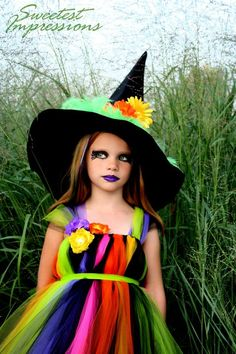 Halloween Witch Make-Up - cute homemade costume too! I could make this! And probably in a lot simpler way than they did! <3 I need Lilly to be a witch next year so I can get my craft on!