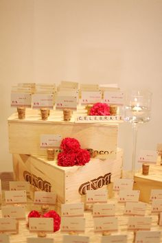 love the escort card display with champagne corks