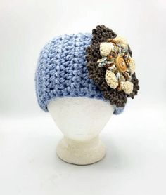 Thick Button-On Ear Warmer in 'Sky Blue' w/Large Brown Ivory Blue Flower by OhanaBoutiqueCrochet on Etsy White Hibiscus, Acrylic Flowers, Faux Fur Pom Pom, Acrylic Wool, Ohana, Ear Warmers, Color Combos, Blue Flowers, Crochet Hats