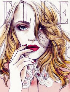 Dakota Fanning by David Slijper | fashion illustration by Soleil Ignacio