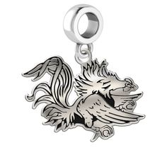 University of South Carolina Gamecocks Sterling Silver Laser Engraved Logo Drop Charm by College Jewelry