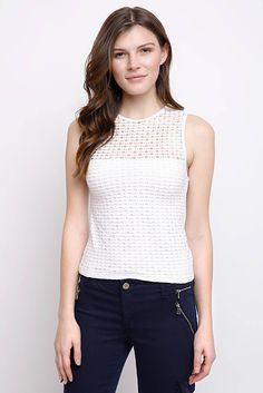 Abbeline Perforated Solid Knit Tank Top in WHITE