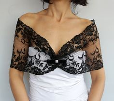 Black tulle lace shoulder wrap, bridal shrug, bolero, wedding dress cover-up. Its made with semi-elastic black, floral embroidered tulle lace fabric.