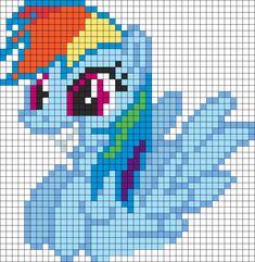 Happy Rainbow Dash perler bead pattern