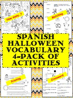 + 1 Bonus Word Search This is such a great Halloween activity pack of worksheets for your students! It includes 4 activities: Counting Halloween Items Matching Spanish word to Printing practice with Spanish Middle School Spanish, Elementary Spanish, Teaching Spanish, Elementary Schools, Teaching Resources, Spanish Classroom, Spanish Lesson Plans, Spanish Lessons, Halloween 4