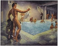 Baths of Ancient Rome ~ 1956 by George Quaintance Rome Antique, Gay Aesthetic, Tom Of Finland, Gay Comics, Queer Art, Male Figure, Gay Art, Ancient Rome, Male Physique