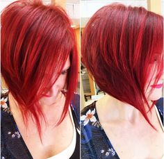 My hairdresser took this pic of my new awesome bright red hair color and angled bob haircut ❤️