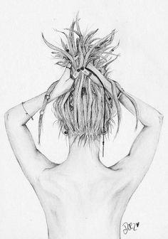 What beautiful art! Dreadlocks Girl, Hippie Dreads, Locs, Rasta Tattoo, Art Sketches, Art Drawings, Mermaid Drawings, Tattoo Drawings, Rasta Girl