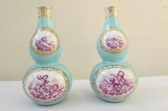 2X 19thC H Wolfsohn Porcelain Cherub Gourd Vases Meissen AR Type Marks to Base