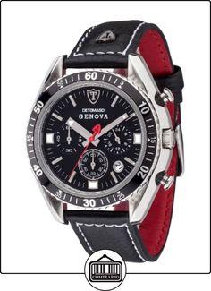 Detomaso Genova - Reloj de cuarzo para hombres, con correa de cuero de color negro, esfera negra de  ✿ Relojes para hombre - (Gama media/alta) ✿