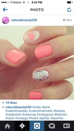 I think I've found my next set of nails:) Get Nails, Love Nails, How To Do Nails, Pretty Nails, Hair And Nails, Valentine Nail Art, Garra, Manicure E Pedicure, Nagel Gel