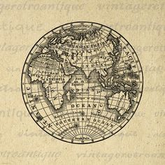 Digital Printable Antique Earth Globe Map Image Eastern Hemisphere Download Graphic for Transfers Pillows HQ 300dpi No.3572