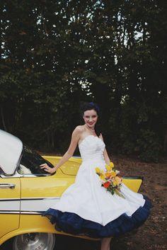Dammit... If only I hadn't already bought my dress!!!!! 1950s White Rockabilly Wedding Dress.. $220.00, via Etsy.