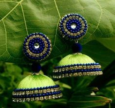 Pista Green Silk Thread Jhumkas with Royal Blue Bead work Light weight Silk Thread Earrings Designs, Silk Thread Jhumkas, Silk Thread Bangles Design, Silk Bangles, Beaded Necklace Patterns, Thread Jewellery, Jewelry Patterns, Paper Quilling Jewelry, Paper Jewelry