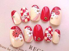 If you are a Kimono person :) Gem Nails, Rose Nails, New Year's Nails, Crazy Nail Art, Crazy Nails, Korea Nail Art, New Years Nail Art, Manicure, Japanese Nail Art