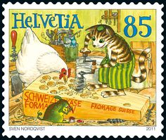 Switzerland, Stamp design by Sven Nordqvist - The Swiss cheese workshop. Nordqvist is a Swedish writer and illustrator of children's books, best known for his series Pettson and Findus, about the old farmer Pettson and his talented cat Findus. Charley Harper, Postage Stamp Art, Love Stamps, Penny Black, Stamp Collecting, Mail Art, My Stamp, Oeuvre D'art, Switzerland