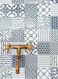 Navy and white multi design tiles