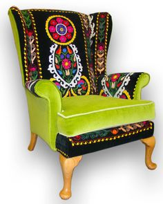 Suzani Patchwork Parker Knoll armchair by JustinaDesign on Etsy, £595.00