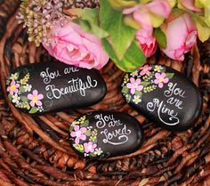 Set of 3 hand painted stones - painted rocks - painted rocks inspirational quotes - home decor - painted flowers - flower rock garden decor Set of 3 hand painted stones painted rocks by PetRocksbyTheresa Pebble Painting, Pebble Art, Stone Painting, Stone Crafts, Rock Crafts, Inspirational Rocks, Hand Painted Rocks, Painted Stones, Painted Flowers