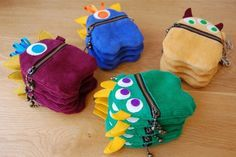 Hahaha little monster zippies :D  Perfect for little boys, especially, to attach to their jeans!