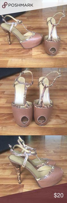 Nine West Heels Nine West Platform peep toe heel. Brown with snakeskin trim and heel. Preowned. No box. Nine West Shoes Heels