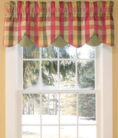 Moire Plaid Lined Layered Button Valance